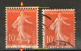 """N° 135 Type 3°_Plus Grand Avec Piquage Haut Et Bas_""""E"""" Relié_+ N° 135 Type 2 Témoin - 1906-38 Semeuse Camée"""
