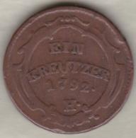 Empire Autrichiens. 1 Kreuzer 1792 H (Guntzbourg) Leopold II . KM# 16. Tres Rare. - Autriche