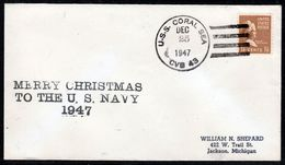 """US Navy, USS""""CORAL SEA"""" (CVB-43) 1947,Merry Christmas,LOW PRICE !! Look Scan, RARE !! 2.3-20 - Bateaux"""