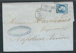 FRANCE N° 22  Obl. S/lettre étoile 24  Paris Rue De Cléry - 1853-1860 Napoleone III