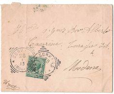 TY33    Storia Postale Regno 1913 - Sorbara - Annullo Tondo Riquadrato Su Busta Per Modena - Poststempel