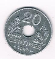 20 CENTIMES 1943 FRANKRIJK /1348G/ - Frankreich