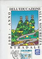 SAN MARINO  1991 - CM - Annullo Speciale - Sicurezza Stradale - Incidenti E Sicurezza Stradale