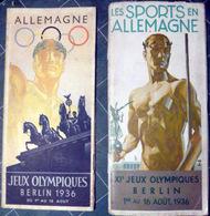 JEUX OLYMPIQUES BERLIN 1936 2 GUIDES AVEC LES PROGRAMMES DES JEUX PLANS ET DIVERSES PHOTOS HITLER EN VISITE - Jeux Olympiques
