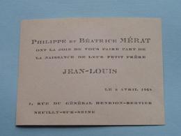 JEAN-LOUIS > Philippe Et Béatrice Mérat - Le 6 Avril 1948 - NEUILLY-Sur-SEINE ( Voir Photo Svp ) - Birth & Baptism