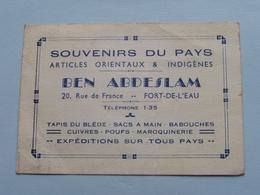 BEN ABDESLAM Souvenirs Du Pays ( Articles Orientaux & Indigènes ( Tél 1-35 ) FORT-DE-L'EAU ( Voir Photo Svp ) - Cartes De Visite