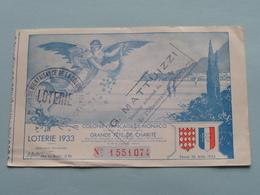 LOTERIE Tirage 1933 Colonie Française De MONACO - Grande Fête De Charité ( N° 1551074 ) G. Mattuizzi ( Voir Photo Svp ) - Billets De Loterie