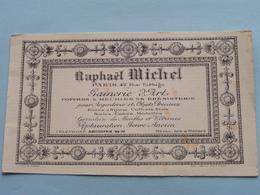 RAPHAËL MICHEL Paris Rue Turbigo GAINERIE D'ART ( RCS 28691 - Aster Capron (?) - Voir Photo Svp ) 8 X 13,5 Cm. ! - Cartes De Visite