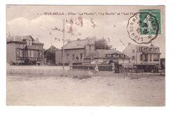14 Riva Bella Villas Le Moulin Le Roulis Et Les Flots Cpa Carte Rare Cachet Convoyeur Ambulant Lion Sur Mer à Caen 1922 - Riva Bella