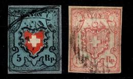 Suisse YT N° 20 Et 23 Oblitérés. A Saisir! - 1843-1852 Kantonalmarken Und Bundesmarken