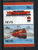TRAINS - 1986 -  NEVIS  - Mi. Nr. 342/43 -  NH -  (UP.70.40) - St.Kitts E Nevis ( 1983-...)