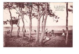 17 Ile De Ré St Saint Martin De Ré Un Joli Coin De La Plage Cachet Tampon Colonie Toiras + Timbre 314 Rouget De Lisle - Ile De Ré