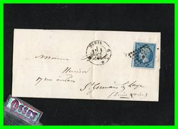 Lettre Pli1860.Paris à St.Germain En Laye.n°14B.typeII.20c.bleu1860.Empire.Franc NapoléonIII - Marcophilie (Lettres)