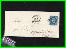 Lettre Pli1860.Paris à St.Germain En Laye.n°14B.typeII.20c.bleu1860.Empire.Franc NapoléonIII - Postmark Collection (Covers)