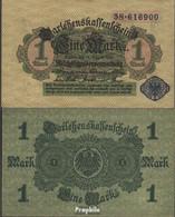 Deutsches Reich RosbgNr: 51d, Blaues Siegel Bankfrisch 1914 1 Mark - [ 2] 1871-1918 : Duitse Rijk