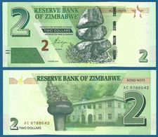 ZIMBABWE 2 Dollars 2016 UNC Prefix AC - Zimbabwe