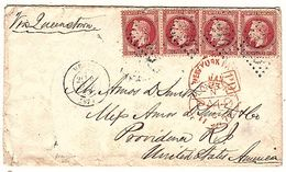 1870 Scott 36 X 4 On Cover From A Hotel In Menton France To Providence RI, USA. - 1863-1870 Napoleon III With Laurels