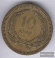 Turkey Km-number. : 888 1956 Very Fine Brass Very Fine 1956 10 Kurus Sickle Moon And Star - Turkey