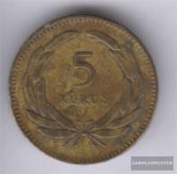 Turkey Km-number. : 887 1950 Very Fine Brass Very Fine 1950 5 Kurus Sickle Moon And Star - Turkey