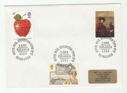 1988 GB /FINLAND ROYAL MAIL  FINLANDIA PHILATELIC EXHIBITION  Event COVER Stamps Steamship Ship Newton Apple Fruit Art - 1952-.... (Elizabeth II)