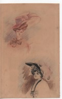 Vieux Papiers.dessin Portrait Deux Femmes à Chapeaux.une Signature Sous Un Portrait. 22,5 X 14 Cm - Unclassified