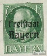 Bavière 154B I, Barres Sur Supérieur Bord Neuf Avec Gomme Originale 1919 King Ludwig Avec Surcharge - Beieren