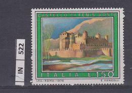 ITALIA REPUBBLICA, 1976Turismo Castello Di Fenis  Nuovo - 6. 1946-.. Repubblica