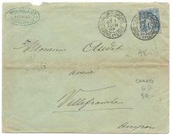 ENVELOPPE SAGE 15c / CHALON SUR SAONE POUR VILLEFRANCHE / 1892 - Marcophilie (Lettres)