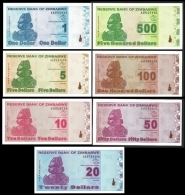 Zimbabwe 1,5,10,20,50,100,500 DOLLARS 2009 P-92-98 X 7 UNC  ( Zimbabue  ) - Zimbabwe