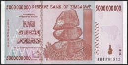 Zimbabwe 5 Billion Dollars 2008 P 84 UNC - Zimbabwe