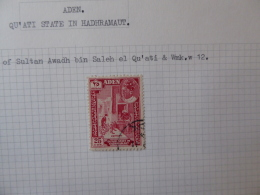ADEN QU'ATI STATE IN HADHRAMINTAUT SG 044 USED WMINT W12 - Aden (1854-1963)