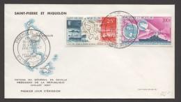 1967  Visite Du Président De Gaulle  Carte Des Iles, Croiseur Colbert  PA 38, 39 Sur FDC - FDC