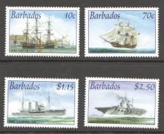 2003  Royal Navy Ships  1764 - 1941  Set Of 4 MM - MH - Barbados (1966-...)