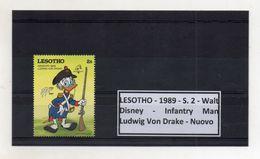 Leshoto - 1989 - S.2 - Walt Disney - Infantry Man - Ludwig Von Drake - Nuovo - (FDC8641) - Lesotho (1966-...)