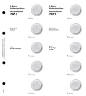"""Lindner 1505-6 Illustrated Page For 2 EURO Commemorative Coins Series """"German Federal States"""": 2016/2017 Sachsen - Supplies And Equipment"""