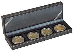 Lindner 2362-4 NERA Coin Case S With 4 Rectangular Compartments For Coins/coin Capsules Up To External Ø 52 Mm - Supplies And Equipment