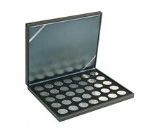 Lindner 2364-2111CE NERA M Coin Case With A Black Insert With 35 Ound Compartments. Suitable For Coins With Ø Of 32,5 M - Supplies And Equipment