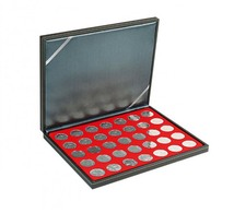 Lindner 2364-2111E NERA M Coin Case With A Light Red Insert With 35 Ound Compartments. Suitable For Coins With Ø Of 32, - Supplies And Equipment