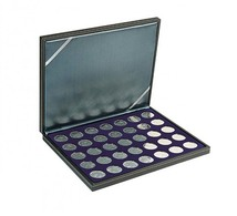 Lindner 2364-2111ME NERA M Coin Case With A Dark Blue Insert With 35 Ound Compartments. Suitable For Coins With Ø Of 32 - Supplies And Equipment