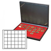 Lindner 2364-2115E NERA M Coin Case With A Light Red Insert With 30 Square Compartments. Suitable For Coins Or Coin Caps - Supplies And Equipment