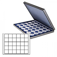 Lindner 2364-2115ME NERA M Coin Case With A Dark Blue Insert With 30 Square Compartments. Suitable For Coins Or Coin Cap - Supplies And Equipment