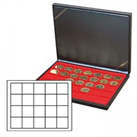 Lindner 2364-2120E NERA M Coin Case With A Light Red Insert With 20 Square Compartments. Suitable For Coins Or Coin Caps - Supplies And Equipment