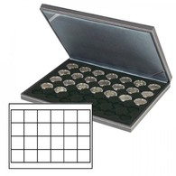 Lindner 2364-2124CE NERA M Coin Case With A Black Insert With 24 Square Compartments. Suitable For Coins Or Coin Capsule - Supplies And Equipment