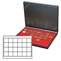 Lindner 2364-2124E NERA M Coin Case With A Light Red Insert With 24 Square Compartments. Suitable For Coins Or Coin Caps - Supplies And Equipment
