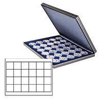 Lindner 2364-2124ME NERA M Coin Case With A Dark Blue Insert With 24 Square Compartments. Suitable For Coins Or Coin Cap - Supplies And Equipment