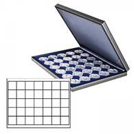 Lindner 2364-2135ME NERA M Coin Case With A Dark Blue Insert With 35 Quare Compartments. Suitable For Coins Or Coin Caps - Supplies And Equipment