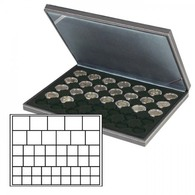 Lindner 2364-2145CE NERA M Coin Case With A Black Insert With 45 Square Compartments In Various Sizes. Suitable For Coin - Supplies And Equipment