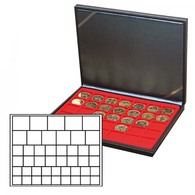Lindner 2364-2145E NERA M Coin Case With A Light Red Insert With 45 Square Compartments In Various Sizes. Suitable For C - Supplies And Equipment