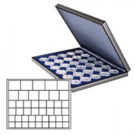 Lindner 2364-2145ME NERA M Coin Case With A Dark Blue Insert With 45 Square Compartments In Various Sizes. Suitable For - Supplies And Equipment