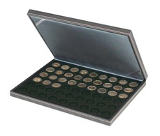 Lindner 2364-2154CE NERA M Coin Case With A Black Insert With 54 Round Compartments. Suitable For Coins With Ø Of 25,75 - Supplies And Equipment